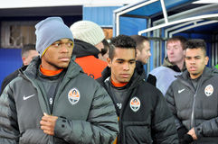 Shakhtar team players come to the stadium Royalty Free Stock Photo