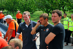 Shakhtar team players watch the game from the stan Stock Photo