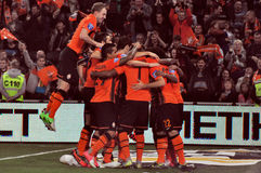Shakhtar team selebrate a goal Stock Photos