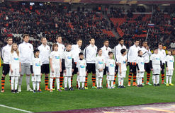 Shakhtar team on the stadium Stock Images