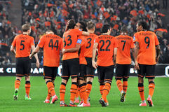 Shakhtar team. View on back Royalty Free Stock Images