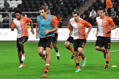 Shakhtar team warming up before the game Royalty Free Stock Photography