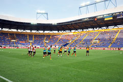 Shakhtar team warms-up Royalty Free Stock Photography