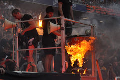 Shakhtar ultras made a fire Royalty Free Stock Images