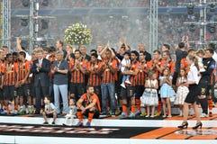 Shakhtarteam op een podium Royalty-vrije Stock Fotografie