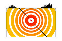 Shaking earth. Overview of focus, epicenter, fault line and shock waves of an earthquake Royalty Free Stock Photos