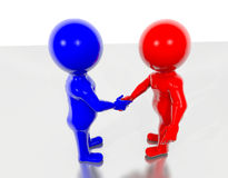 Shaking Hand. Red and Blue 3d figure shaking hands Stock Image