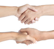 Shaking hand in two different angle Stock Photos