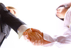 Shaking hands. Businessman teamwork partners shaking hands stock photo