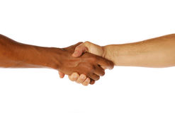 Shaking hands. Two men shaking hands on an isolated background Royalty Free Stock Photos