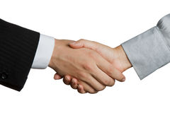 Shaking hands. Businessman and businesswoman shaking hands after signing contract royalty free stock images