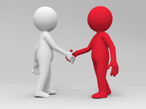 Shaking hands. Two 3d people are shaking hands Stock Image