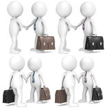 Shaking hands. 3D little human character the Business Man X2 shaking hands. 4 Color and texture versions Stock Image