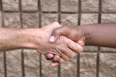 Shaking hands. A black man and white man shaking hands Stock Photos