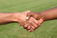 Shaking hands. A black man and white man shaking hands Royalty Free Stock Image
