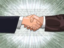 Shaking hands. Hands shaking with binary code background vector illustration