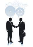 Shaking hands in agreement. Businessmen shaking hands in agreement with a handshake royalty free illustration