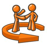 Shaking Hands In Arrow. Two illustrated figures shaking hands, surrounded by a circular arrow.  Figures and arrow orange, isolated on a white background Royalty Free Stock Photography
