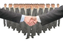 Shaking hands and big business group collage Stock Photo