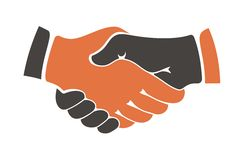Shaking hands between cultural. Conceptual image of two people of different ethnicities shaking hands between cultural communities either during a business royalty free illustration