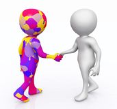 Shaking hands with 3D figures. Computer generated 3D illustration with 3D figures shaking hands Royalty Free Stock Photography