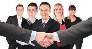 Shaking hands and five business group collage royalty free stock photography