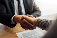 Shaking hands after good cooperation, Businessman handshake male stock photography