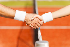 Shaking hands after good game. Royalty Free Stock Image