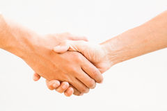 Shaking hands , isolated on white. Stock Photo