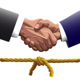Shaking hands knot Stock Photos