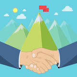 Shaking hands, mountains. Shaking hands in front of mountains landscape, business deal or summit concept, vector illustration Royalty Free Stock Photography