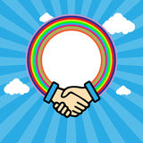 Shaking hands in outline. With rainbow circle over a blue sky background in lines with white clouds. Digital vector background Stock Images