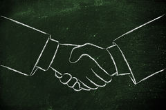 Shaking hands, partnership and deals. Hands shaking illustration, making a deal or partnership Stock Images