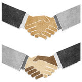 Shaking hands recycled paper craft Royalty Free Stock Images