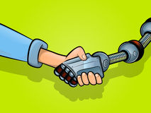 Shaking Hands with Technology Royalty Free Stock Image