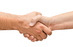 Shaking hands of two male people isolated Royalty Free Stock Photo