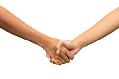 Shaking hands of two people, isolated on white Royalty Free Stock Images