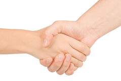 Shaking hands of two people, man and woman. Shaking hands of two people, man and woman, isolated on white Stock Image
