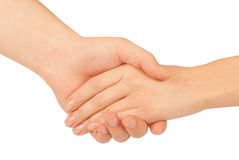Shaking hands of two people, man and woman. Isolated on white Royalty Free Stock Photos