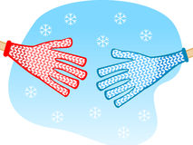 Shaking hands winter Royalty Free Stock Image