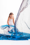 Shaking the organza. Royalty Free Stock Photography