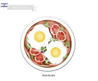 Shakshouka ou oeufs israéliens pochés en sauce tomate illustration de vecteur