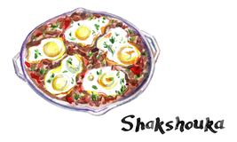 Shakshouka in a pan. Middle eastern traditional dish. Fried eggs with tomatoes, bell pepper, vegetables and herbs, watercolor. Shakshouka in a pan. Middle royalty free illustration