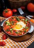 Shakshuka con i pomodori e le uova Fotografie Stock Libere da Diritti