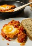 Shakshuka del desayuno de huevos fritos con el tomate Imagen de archivo libre de regalías