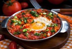 Shakshuka med tomater och ägg Royaltyfri Fotografi