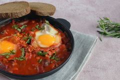 Shakshuka is a traditional oriental dish of eggs, fresh tomatoes, garlic, spices, olive oil and herbs. stock photos