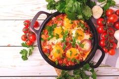 Shakshuka Tradycyjna Izraelicka kuchnia Smażący jajka z vegetabl Obraz Royalty Free