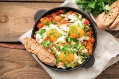 Shakshuka z jajkami, pomidorem i pietruszką w żelaznej niecce, Shakshuk Zdjęcie Stock