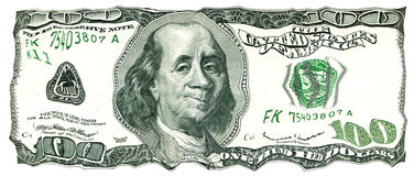 Shaky 100 US Dollar Bill. Value under Pressure Royalty Free Stock Photography